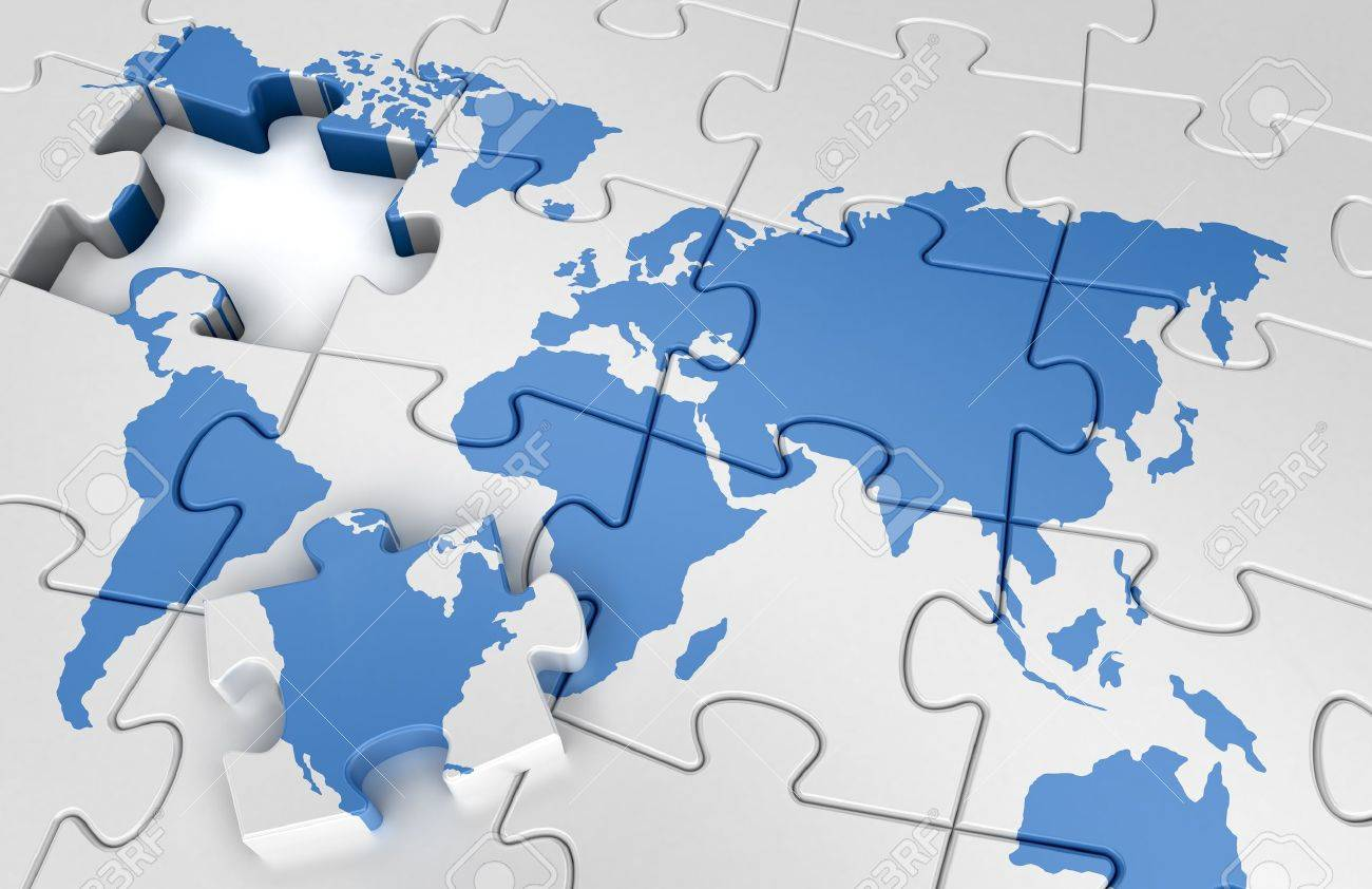 Puzzle world map stock photo picture and royalty free image image puzzle world map gumiabroncs Choice Image