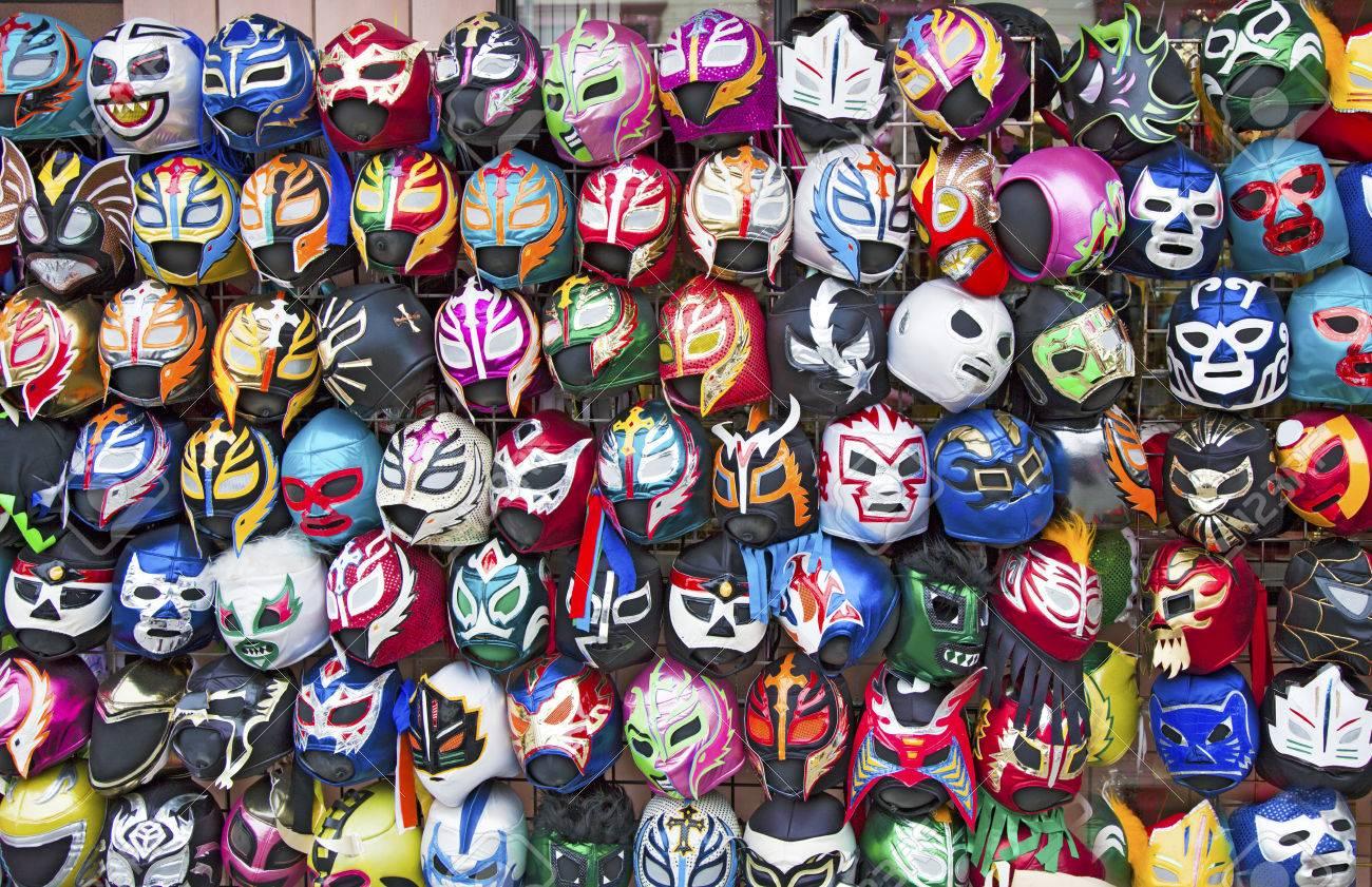 Tableau Coloré De Masques De Catch Mexicain Uniques