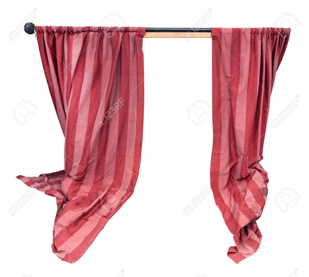 Pink And Red Puppet Show Curtain On Rod. Isolated. Stock Photo ...