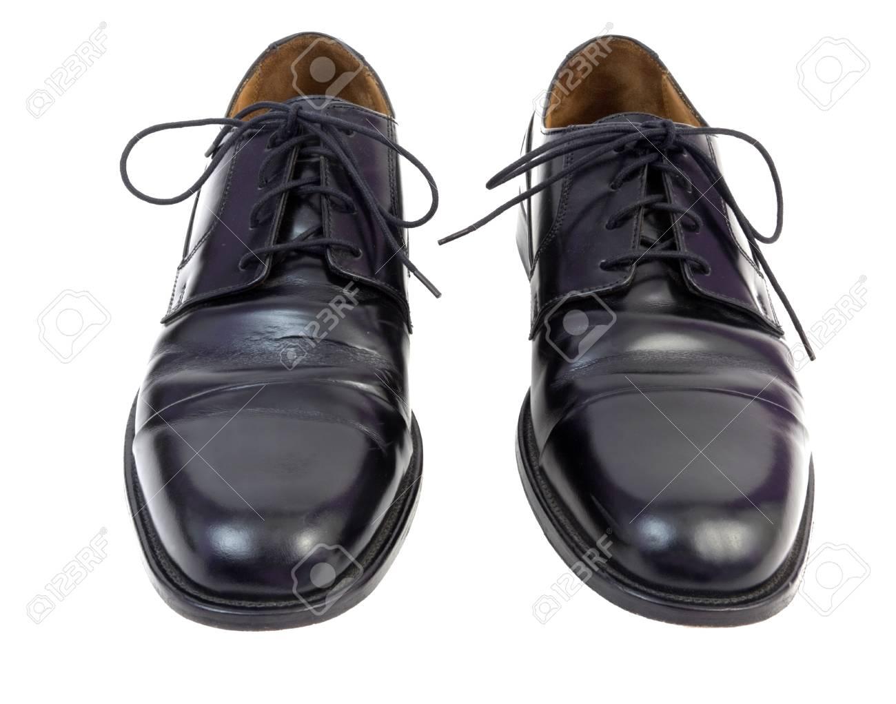Shiny Black Men's Dress Shoes Side By