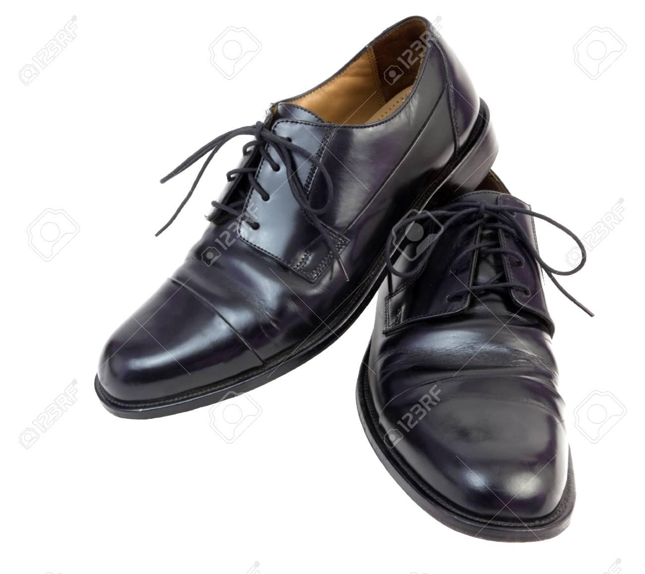 Shiny Black Men's Dress Shoes. Isolated