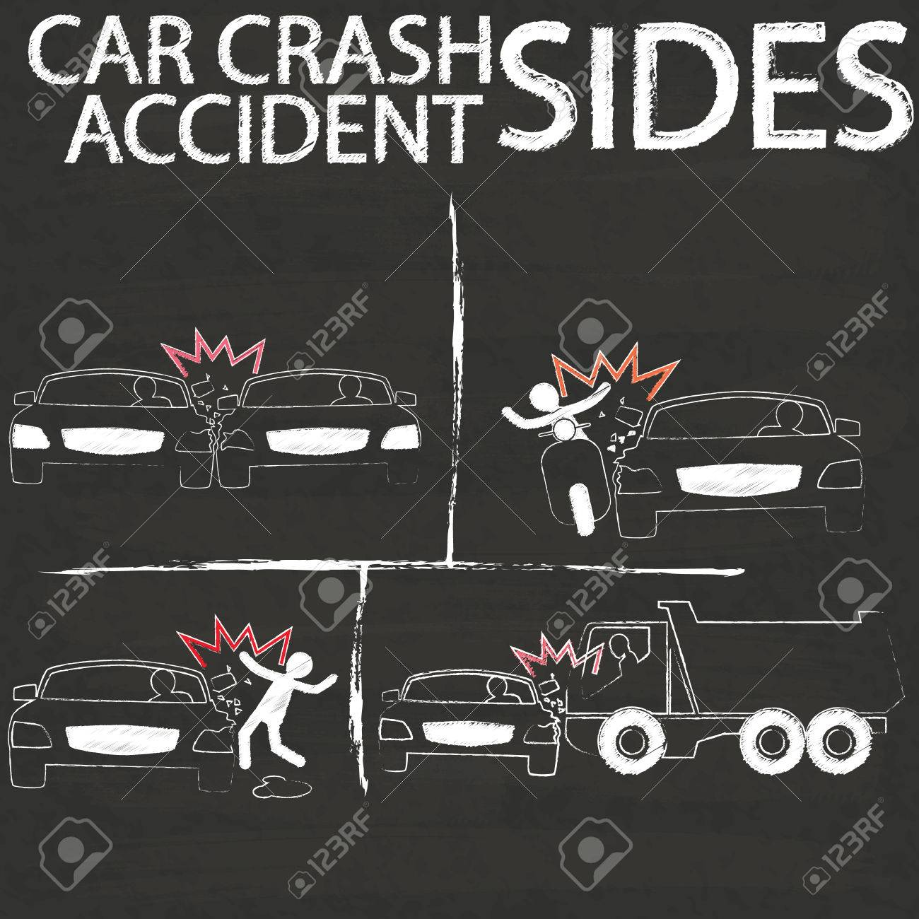 Symbol For Car Crash Accident On Side Collision Paint By Chalk ...