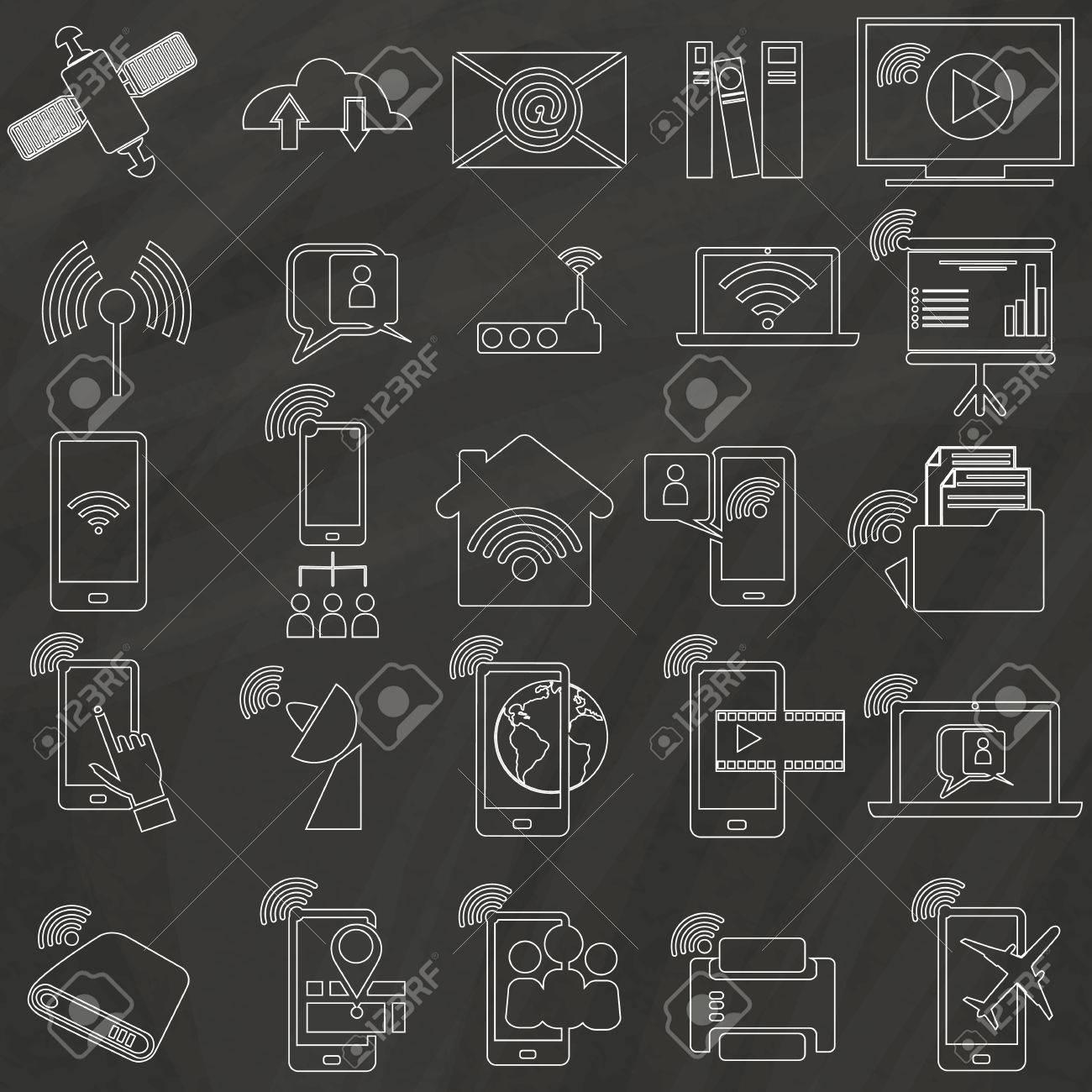 Icons Für Die Kommunikation Konnektivität Innerhalb Des Hauses, Auf ...