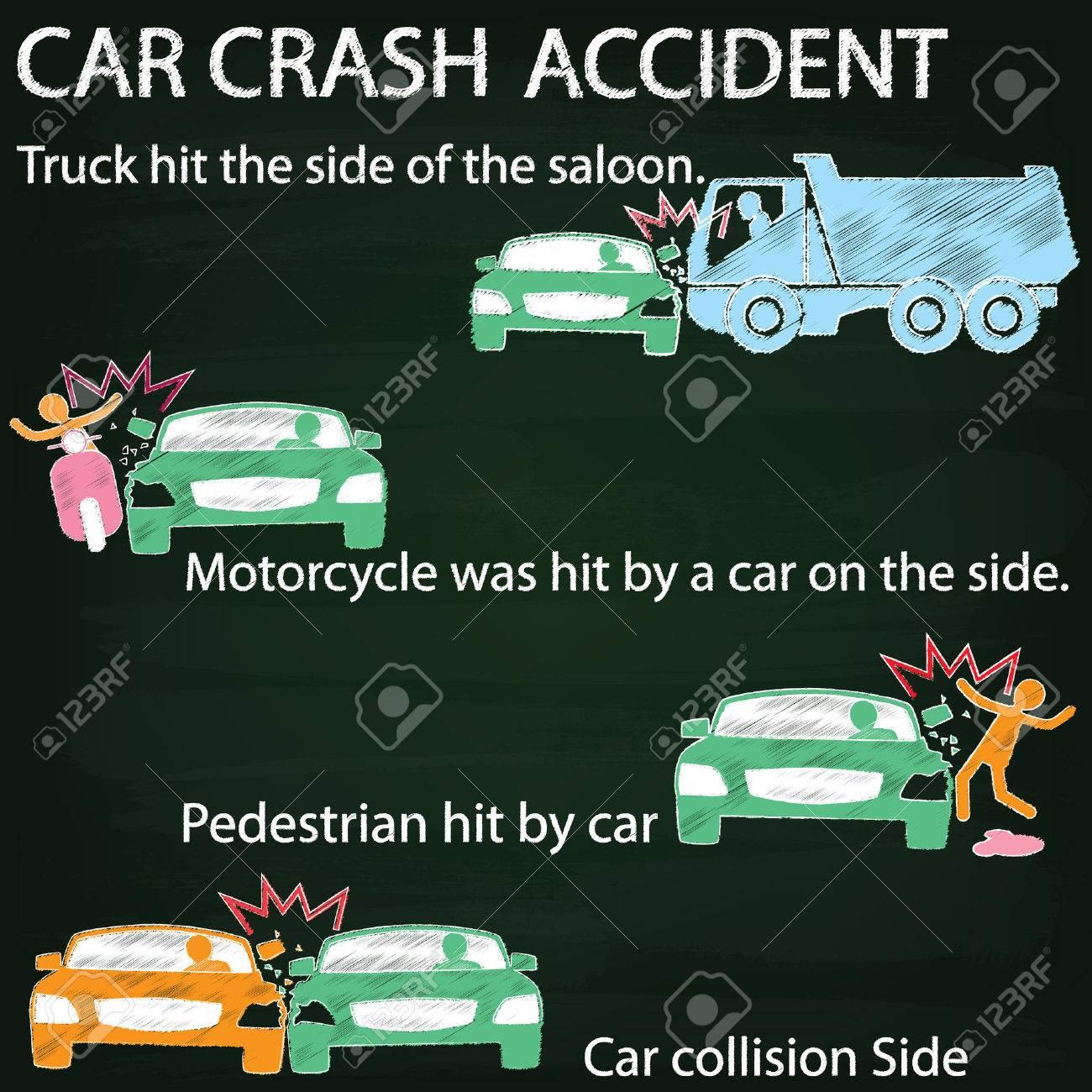 Icon Für Autounfall Unfall Auf Seitenaufprall Farbe Kreide Auf Tafel ...