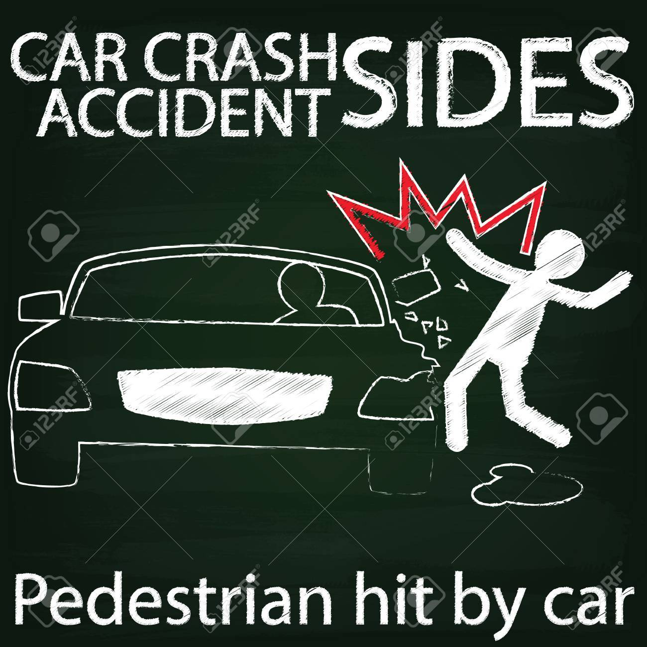 Symbol For Car Crash Accident On Side Collision Between Cars And ...