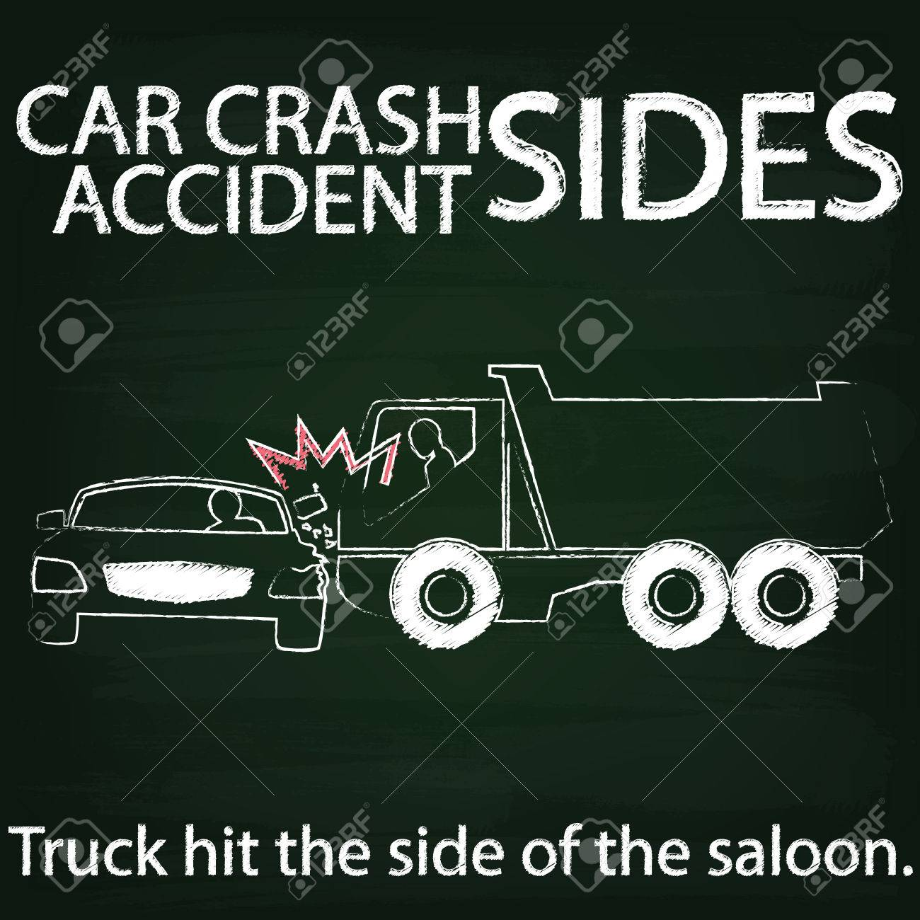 Sign For Car Crash Accident On Side Collision Between Cars And ...