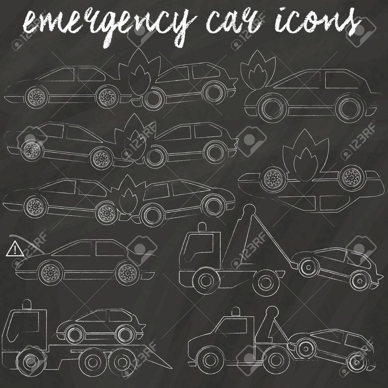 Tow Truck And Car Crash Accident Icons Hand Drawing By Chalk ...