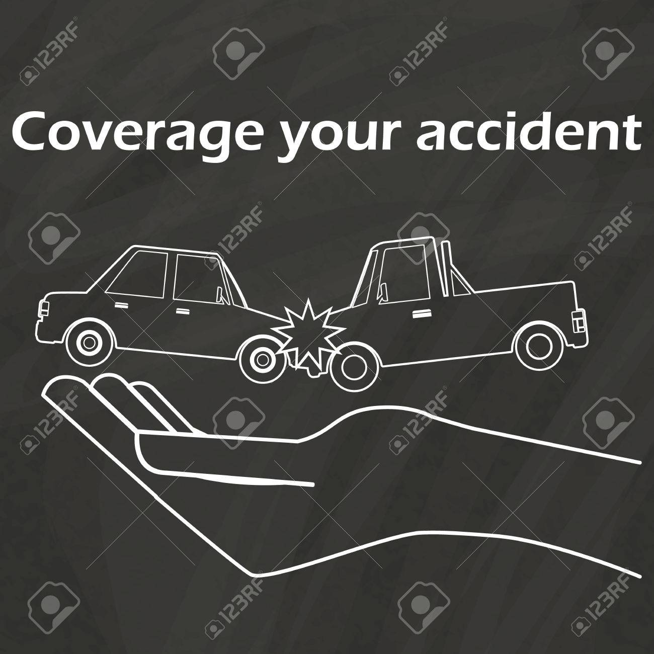 Car Crash On Hand To Draw With Chalk On A Blackboard. In Vector ...