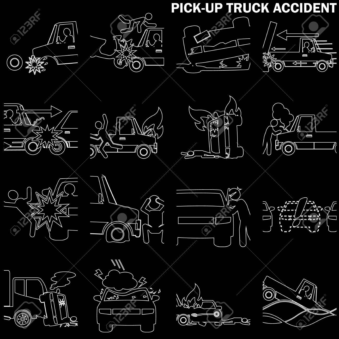 Line Drawing Of Pickup Truck Accident And Insurance Sign. In ...