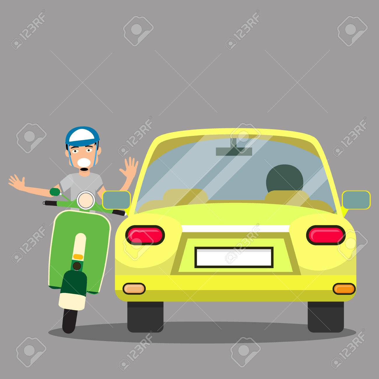 uptight vehicle driver and Issue with scooter. Flat Vector Illustration - 78505810