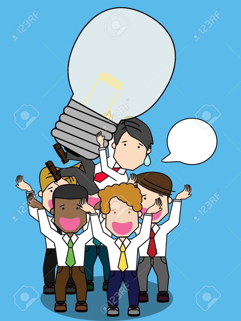 Businessman Being Throwing Up By His Teamwork Funny Vector Royalty