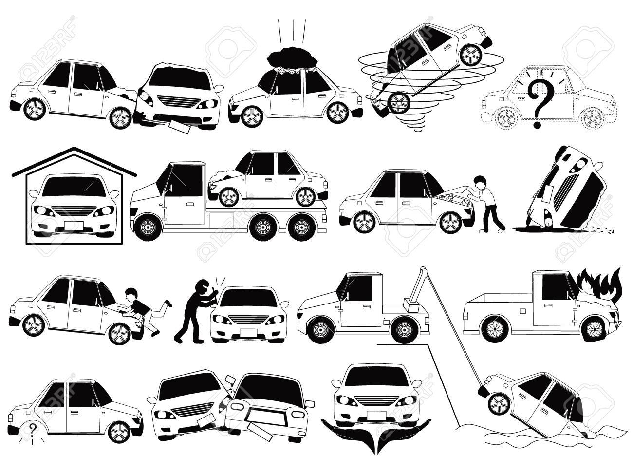 Car Crash And Accidents On The Road Icons Set Outline Concept