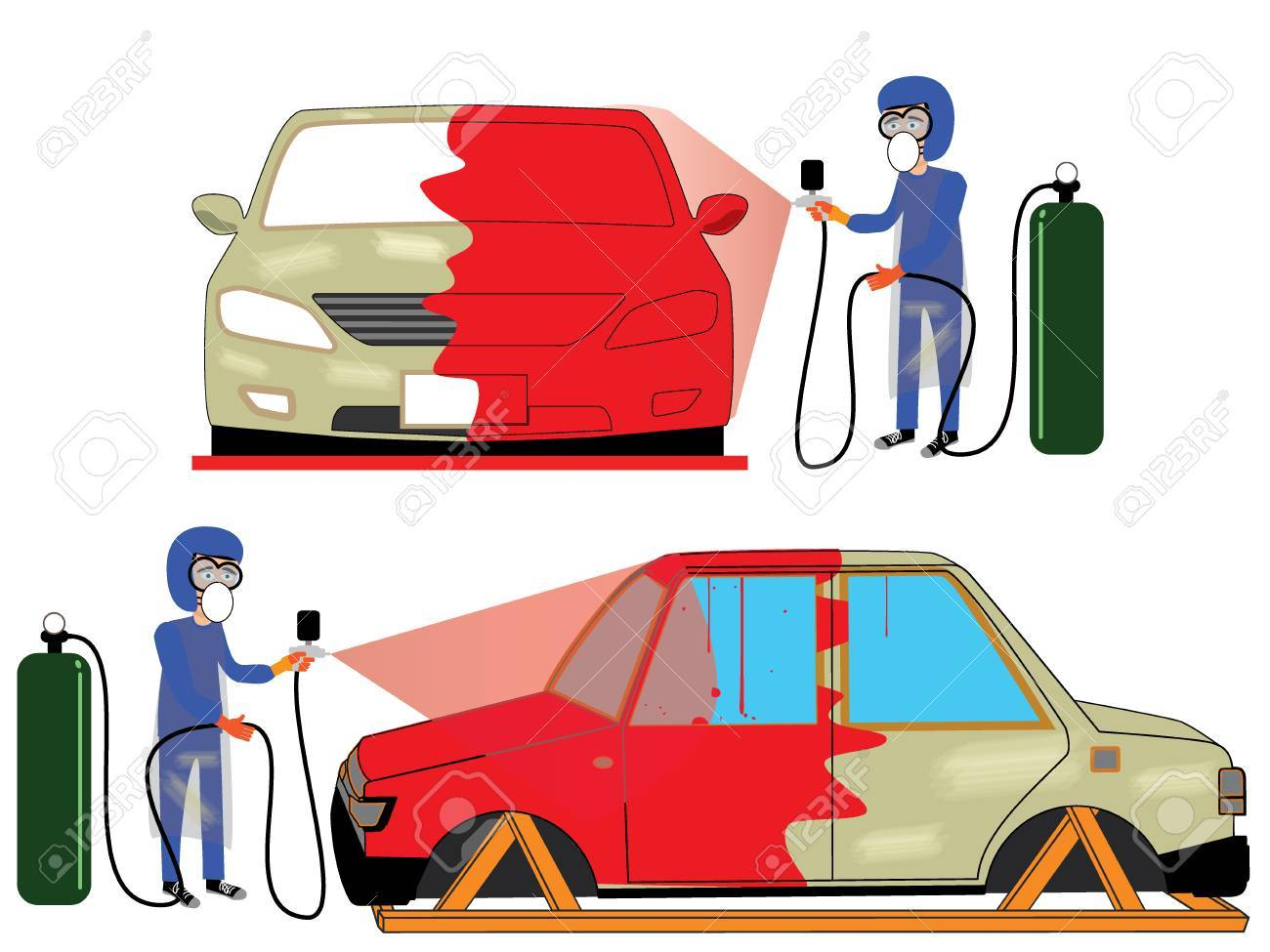 spray painting auto mobile body at car collision repair shop rh 123rf com Auto Repair Humor A and B Auto Repair