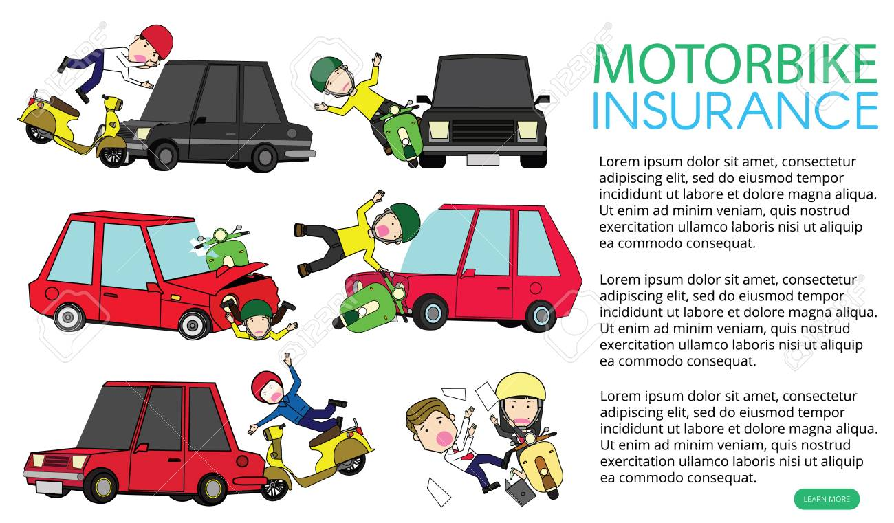 motorcycle accident with private car. Flat vector illustration design. - 119967702