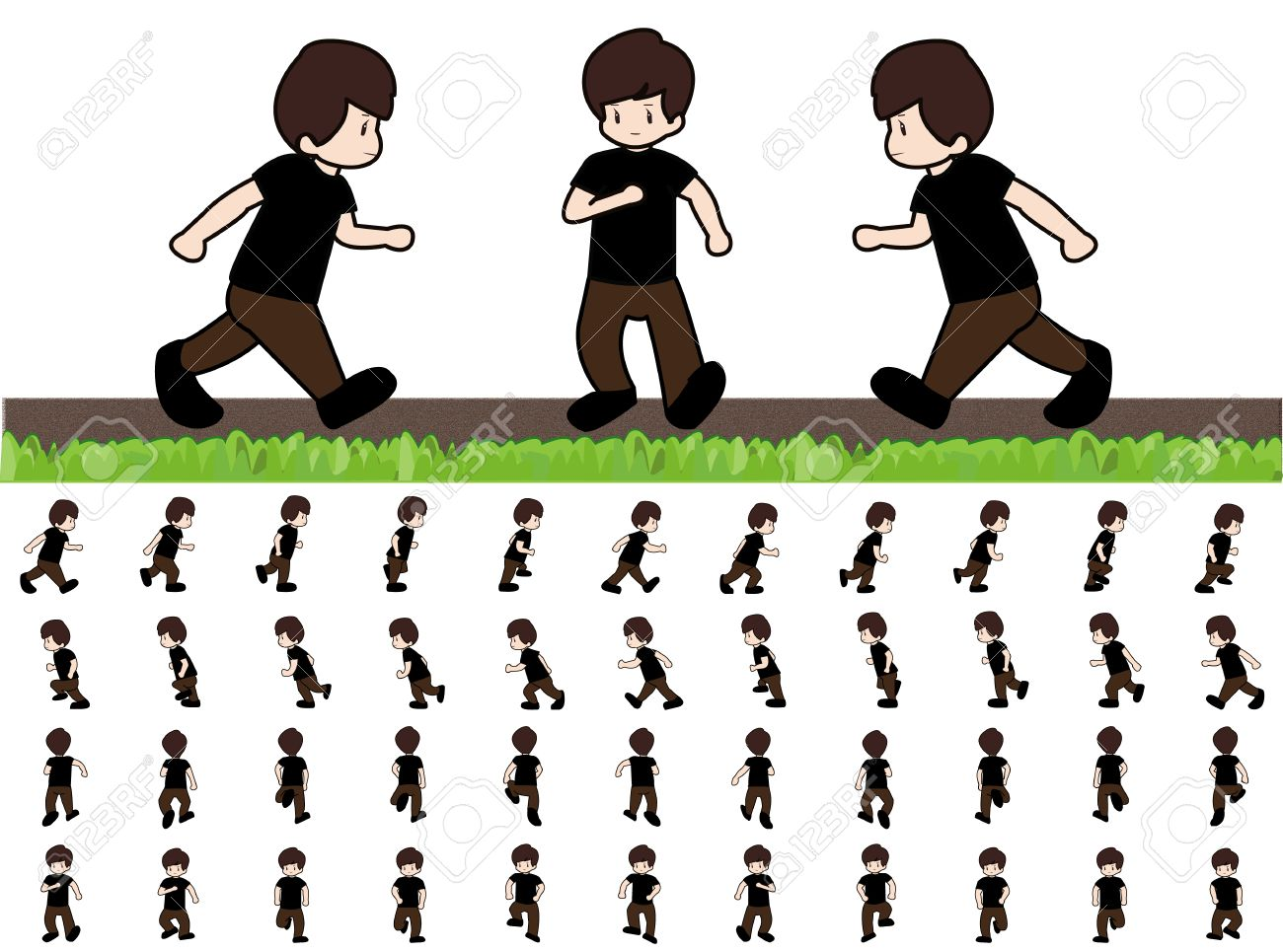 Man Frames Running Walk Sequence For Game Animation Royalty Free ...