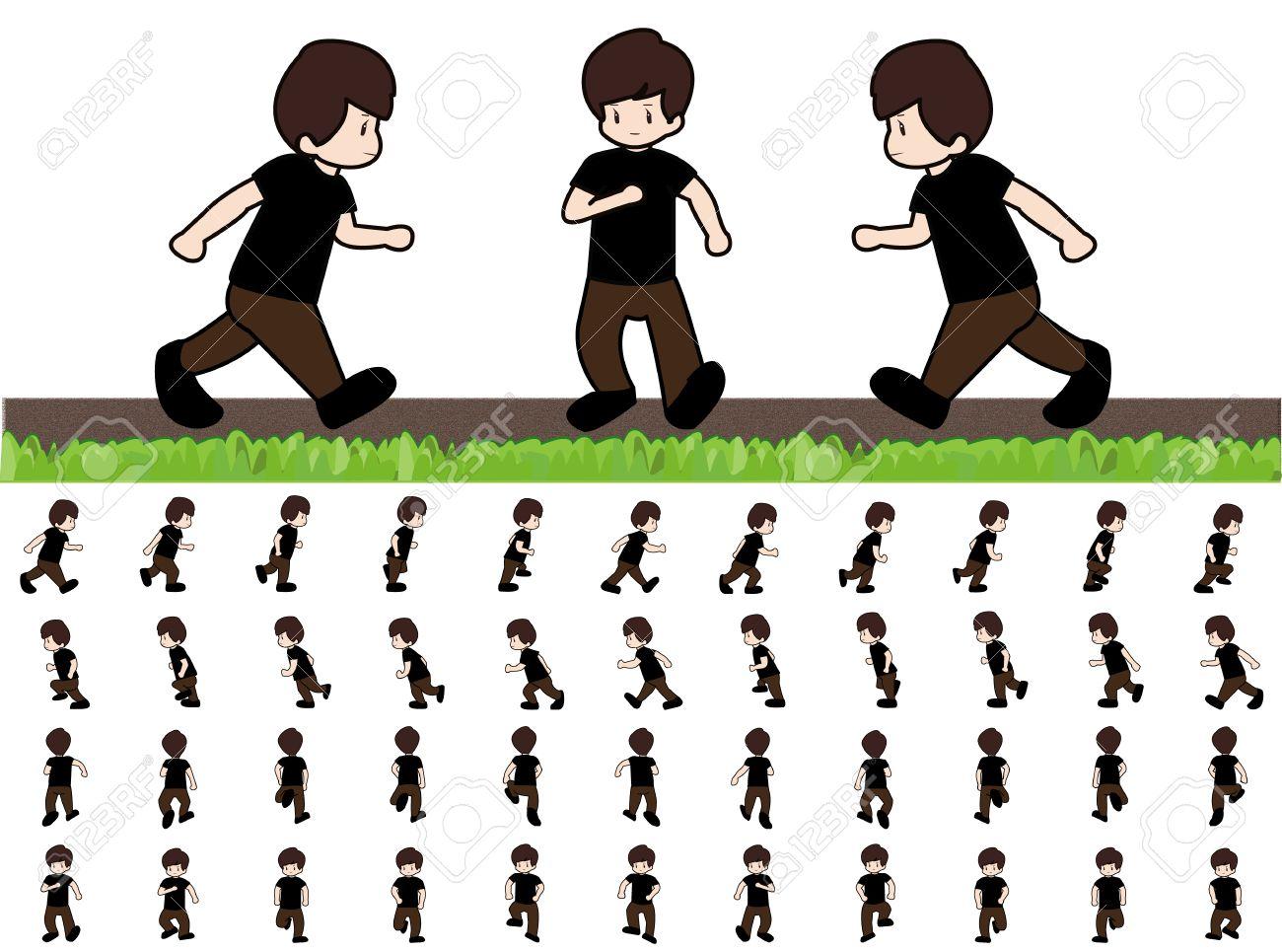 Man Frames Runningwalk Sequenz Für Game-Animation Lizenzfrei ...