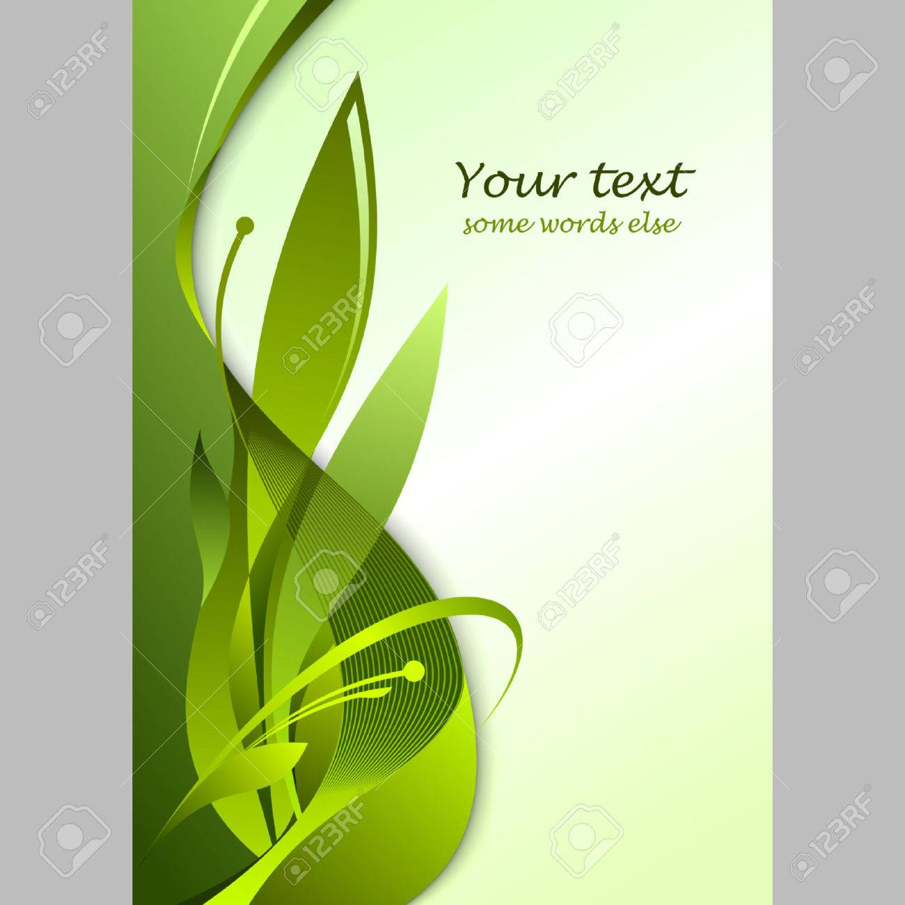 Floral template with big green leafs on light background Stock Vector - 7597579