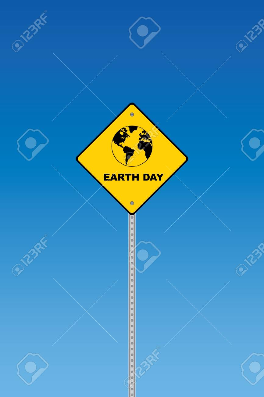 Earth day road sign on a blue graduated sky Stock Vector - 7758421