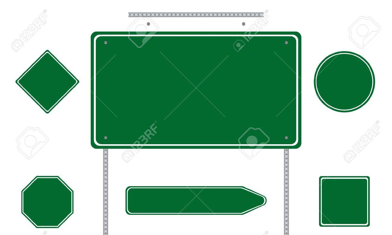 Collection of green road signs isolated on white background Stock Vector - 7758439
