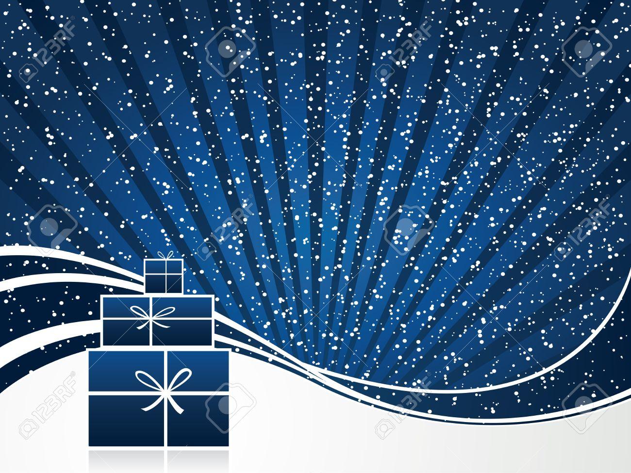 Plantilla De Tarjeta De Invitación Azul - Fondo De Navidad ...