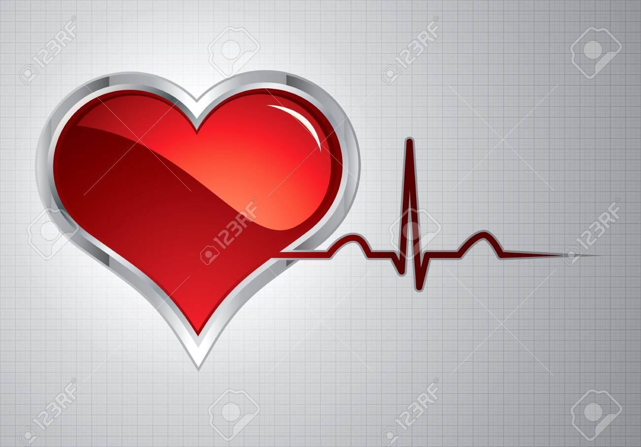 Heart beats vector illustration.Steel style medical button Stock Vector - 9660441