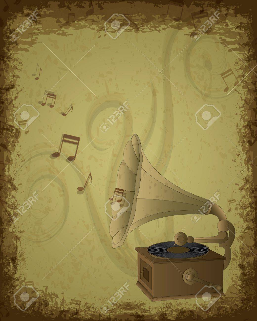 Music background - retro gramophone on eroded grunge paper Stock Vector - 10390590