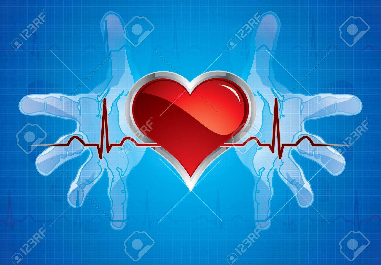 Human hands caring heart.Medical background Stock Vector - 10421966