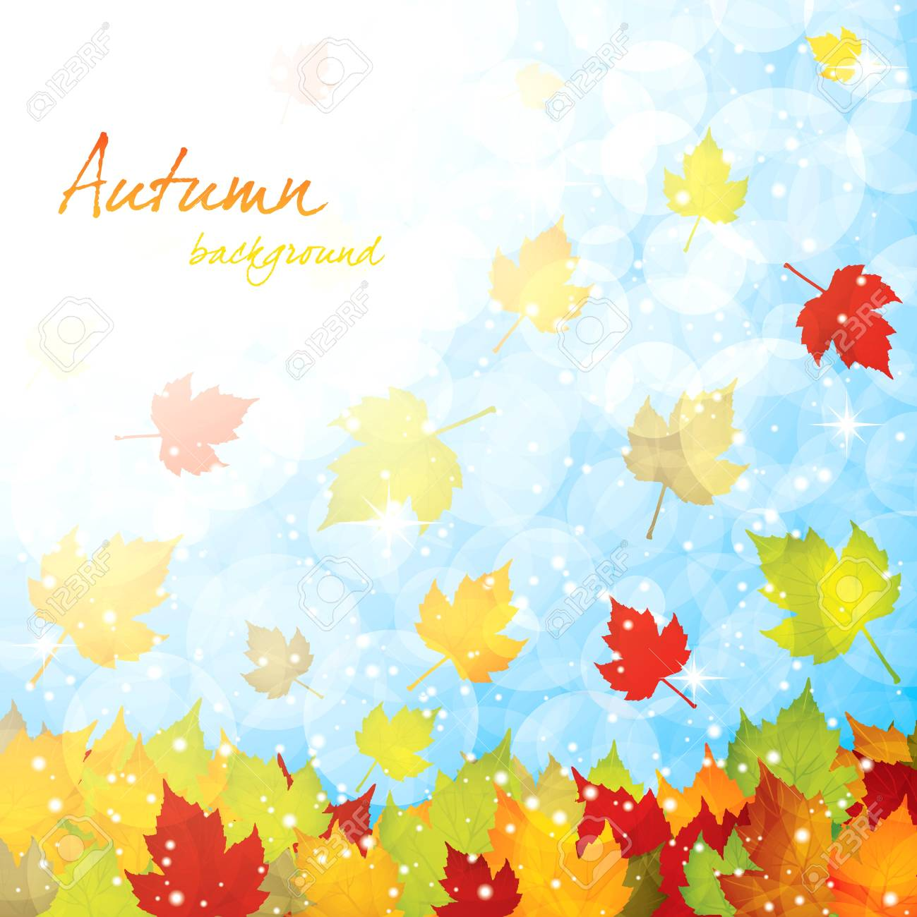Autumn falling leaves background Stock Vector - 10698372