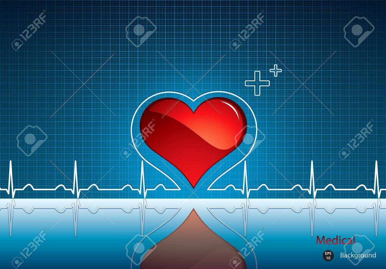 Heart and heartbeat symbol on reflective surface.Medical background Stock Vector - 10890229