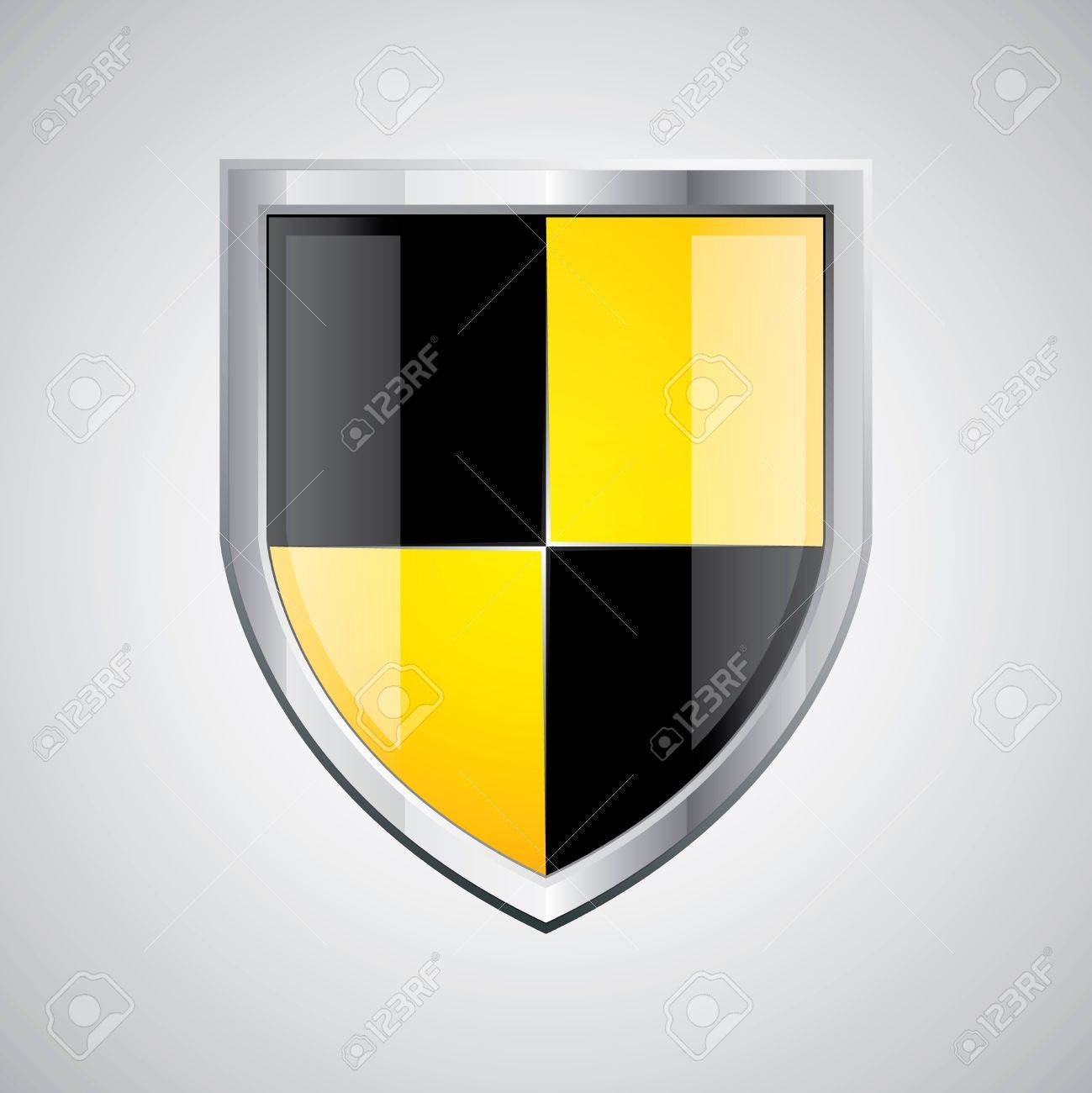 Glossy black and yellow shield emblem on silver background Stock Vector - 11088564