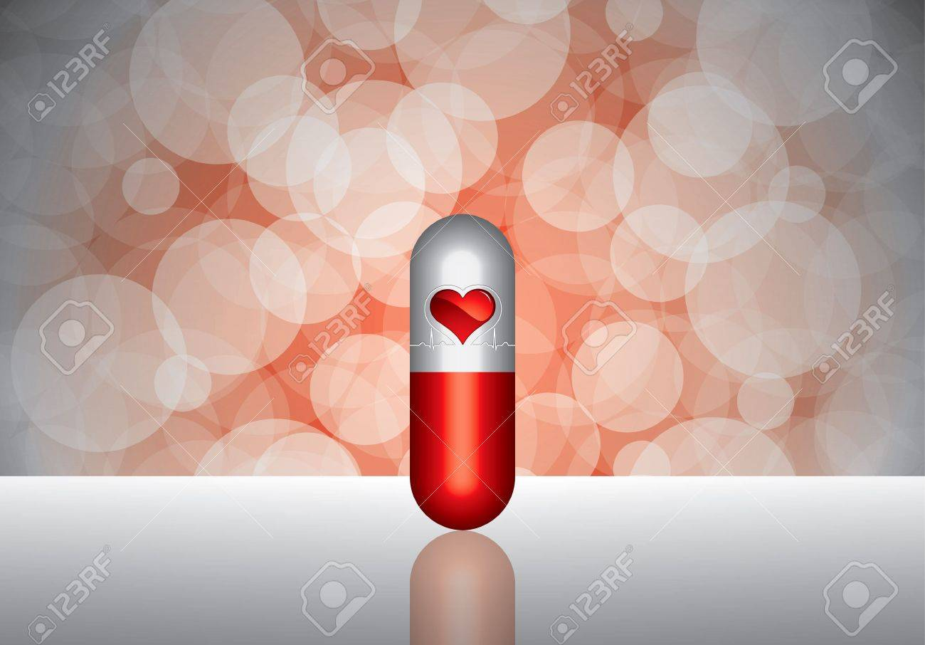 Beautiful red pill - medication concept Stock Vector - 11386402