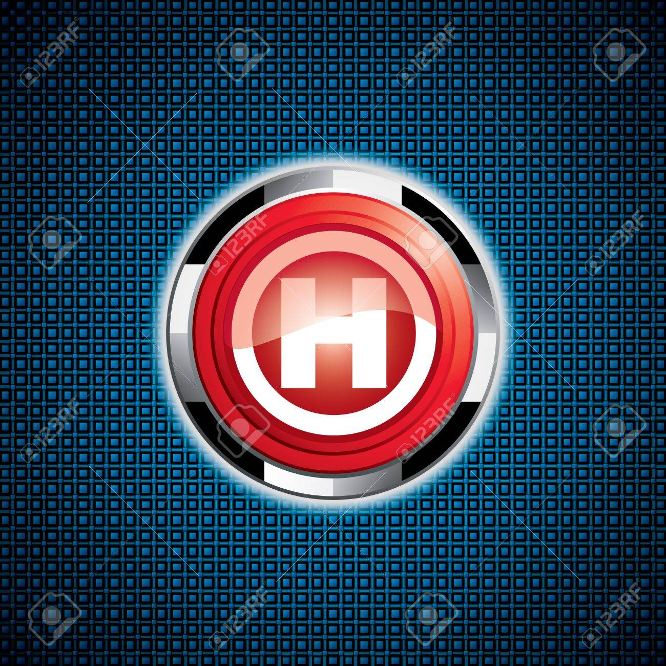 Shiny Hospital sign.Steel style medical button Stock Vector - 11660094