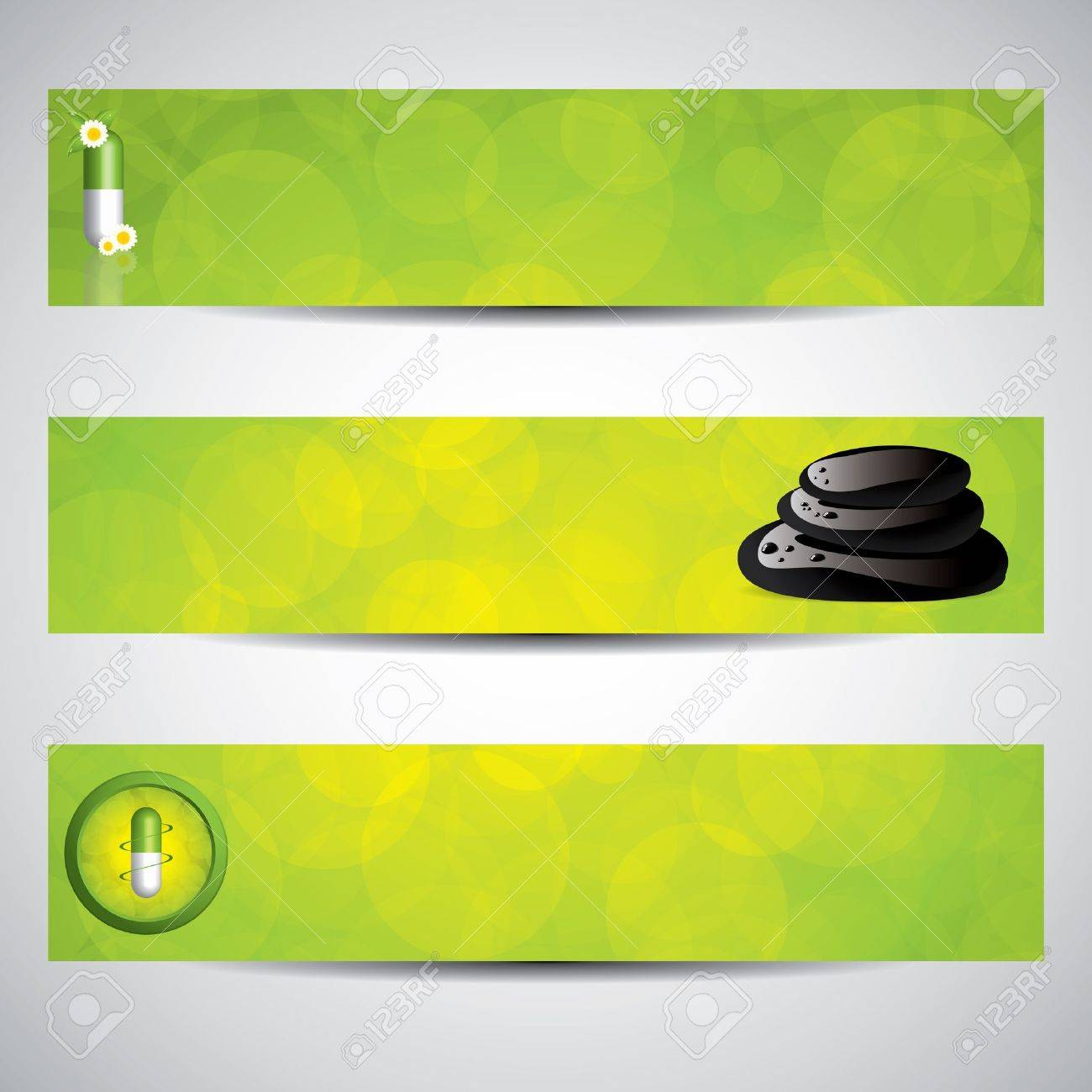 Herbal Pill And Spa Banners Environment Elements Royalty Free Cliparts Vectors And Stock Illustration Image 11974103