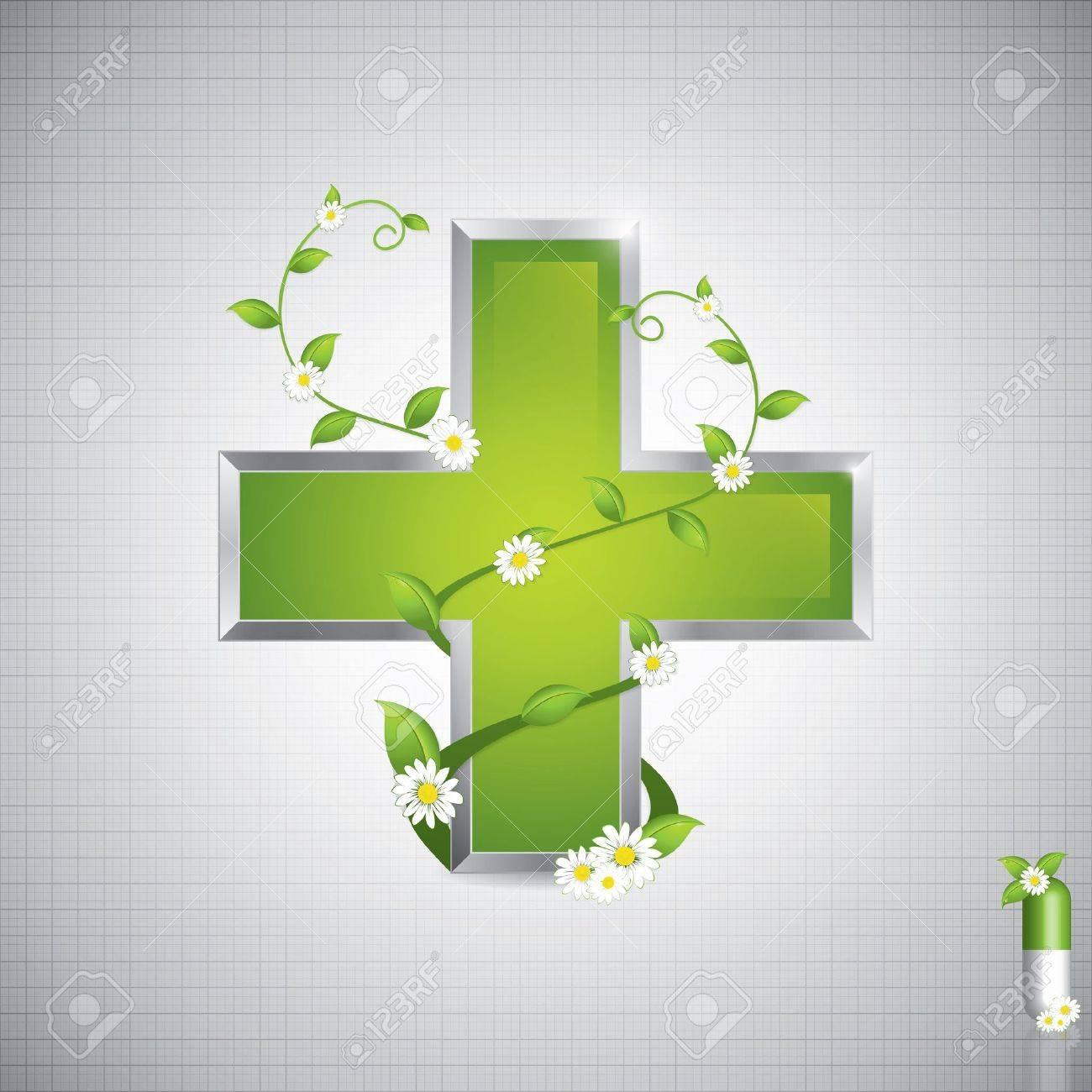 Alternative medication concept - medical cross caduceus style Stock Vector - 12185028