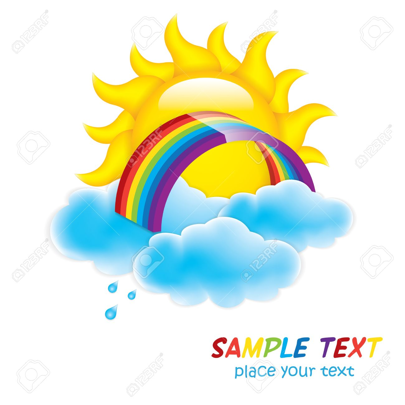 sun in clouds with rainbow isolated on white Stock Vector - 13273008