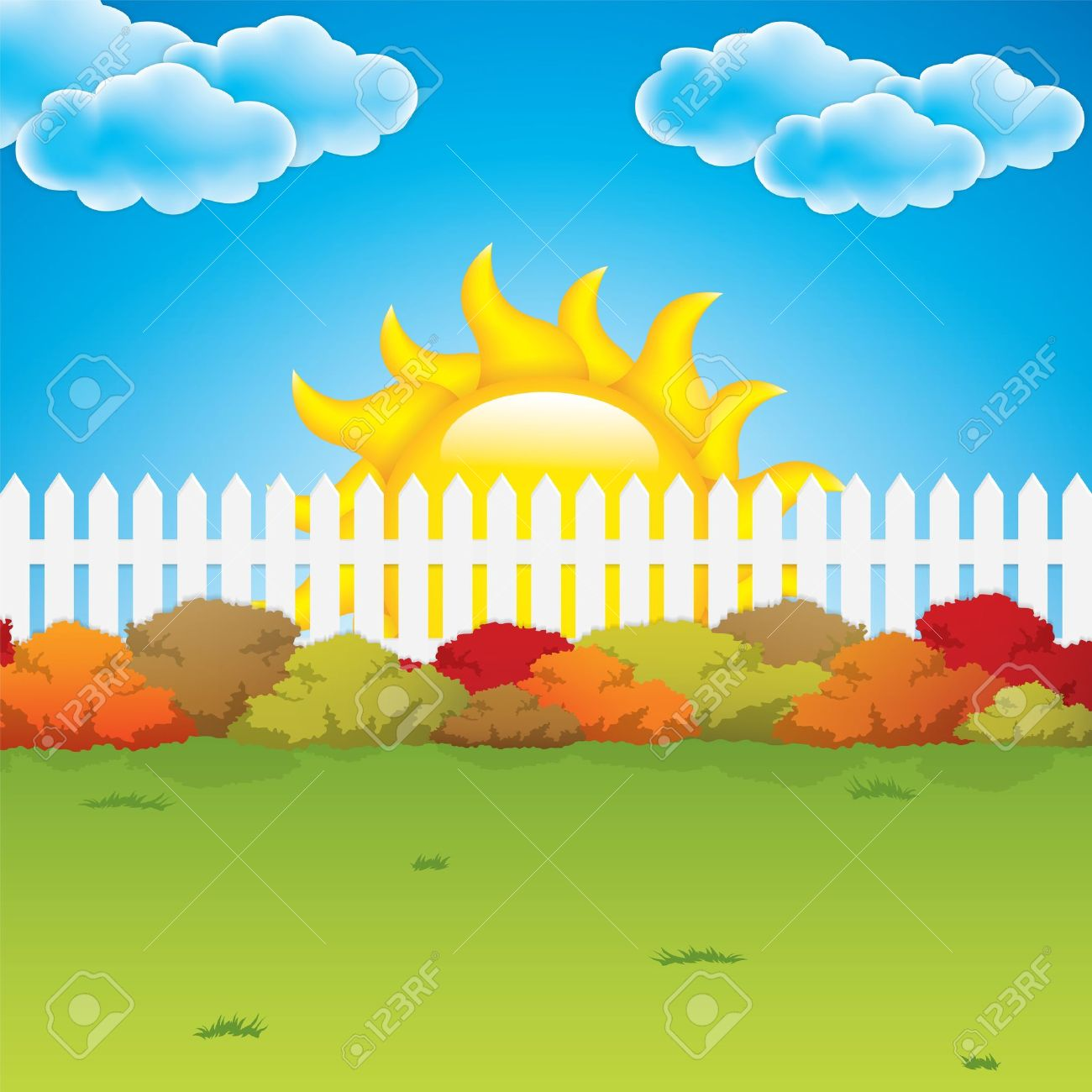 Autumn Garden With Bushes And Fence Vector Stock Vector   14616210