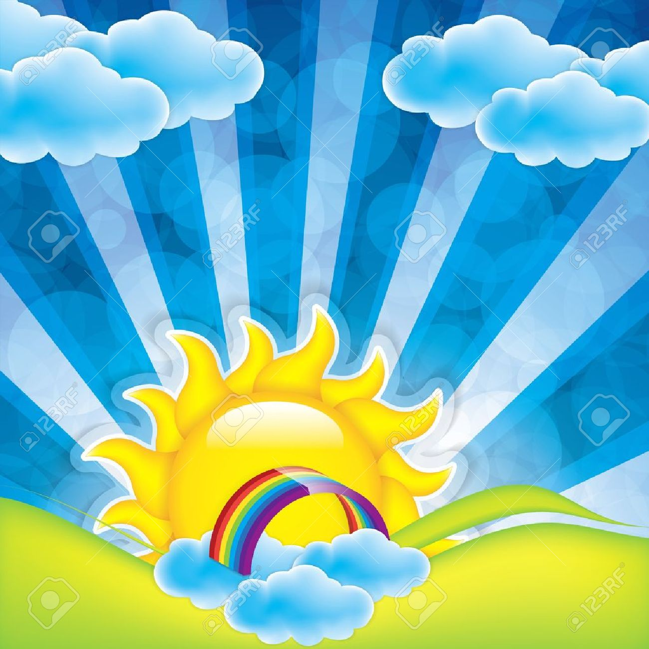 Spring frame with sun and clouds Stock Vector - 18653926