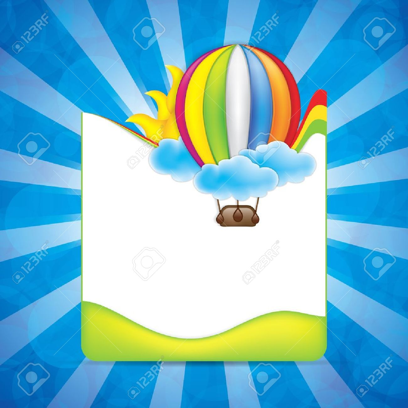spring frame with hot air balloon and rainbow stock vector 19500583