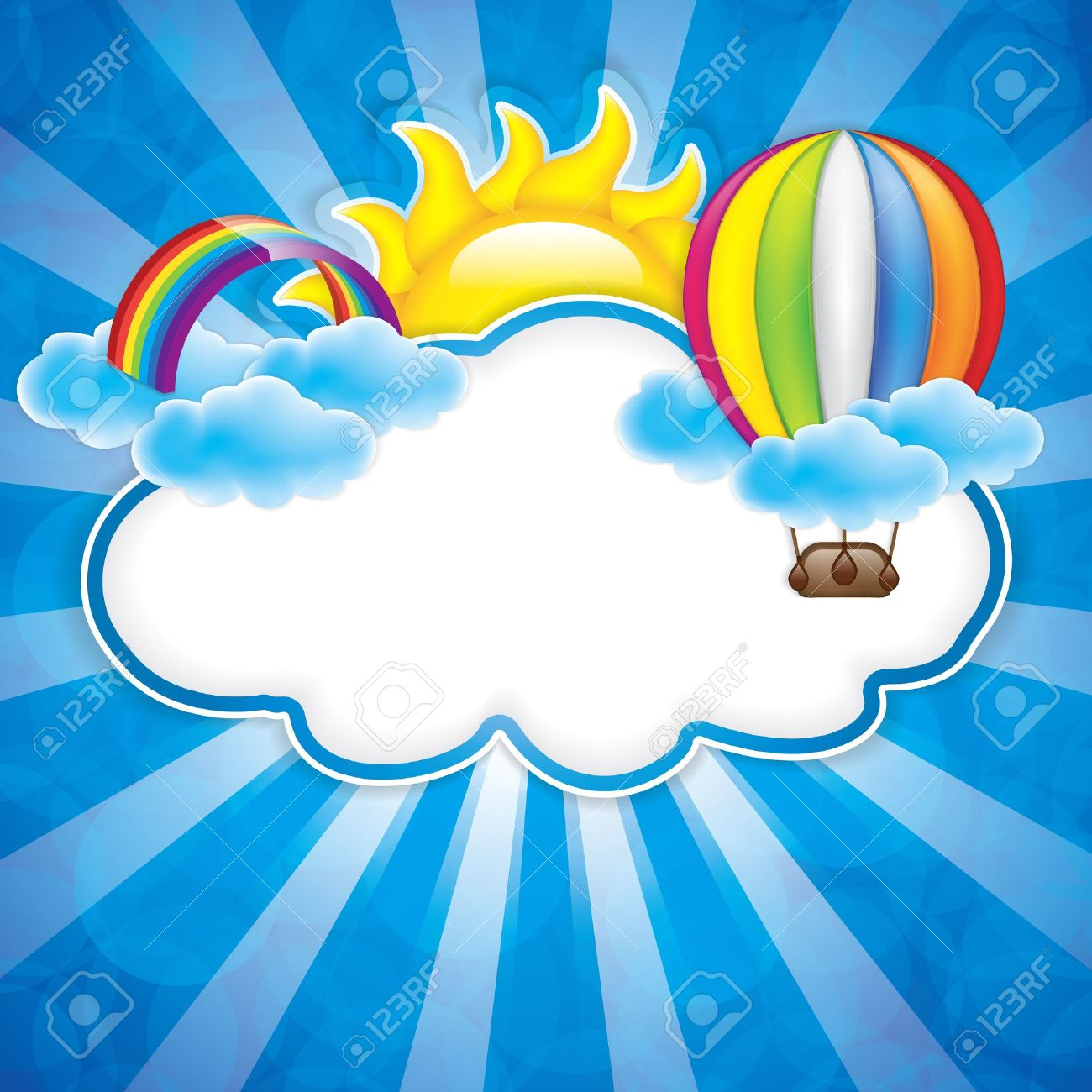 Spring Frame With Hot Air Balloon And Rainbow Royalty Free Cliparts