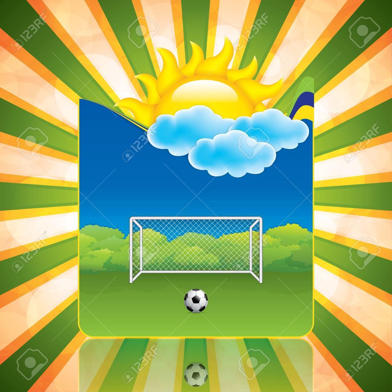 Marco Del Resorte Con El Objetivo De Fútbol Y Ball.Vector ...