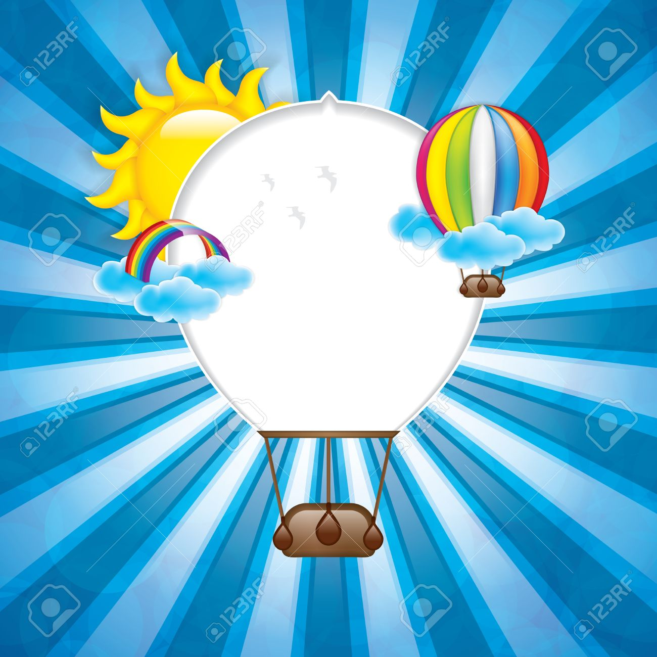 Spring Frame With Hot Air Balloon And Rainbowvector Royalty Free