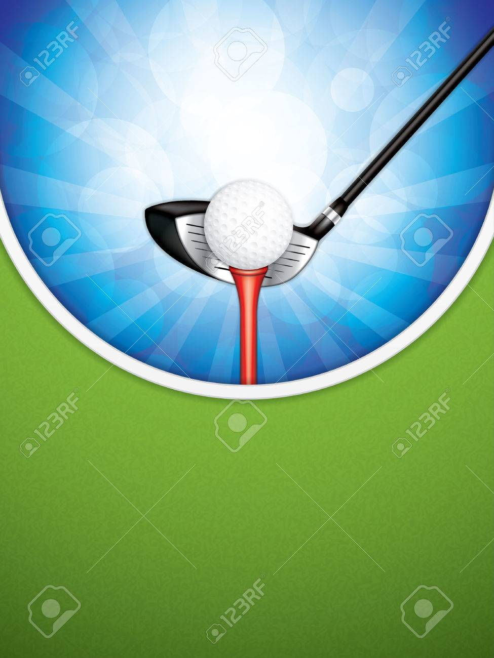 Vector illustration of golf brochure with club and ball. - 71815388