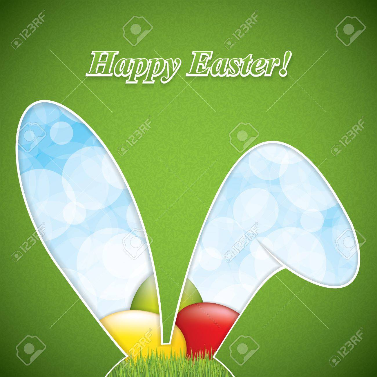 Ostern Grußkarte Mit Kaninchen Ohren Rahmen Und Eier. Lizenzfrei ...