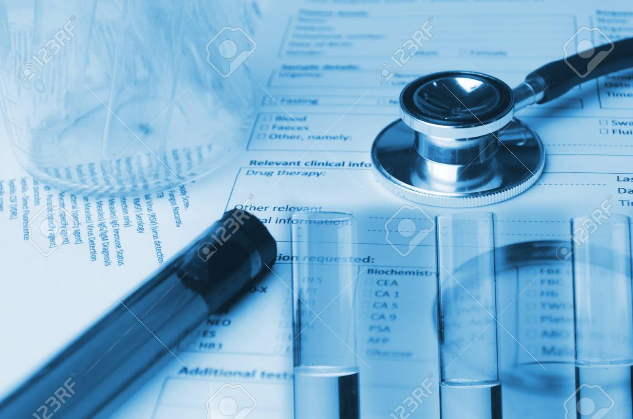 Double Exposure Of Stethoscope, Test Tube, Beaker And Medical ... on ss medical form, tuberculosis test form, cancer medical form, tuberculosis screening form, er medical form,