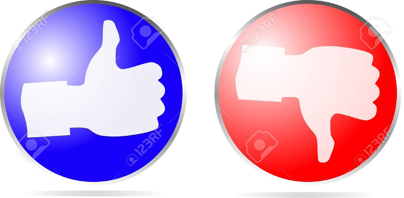 Icon Thumb Up and Thumb Down isolated on white Stock Vector - 20851798