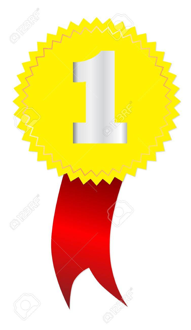 Label - Number One, with red tape isolated on white Stock Vector - 21031372