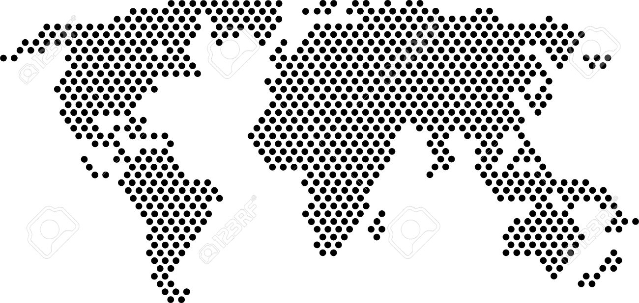 Black Dots   World Map Royalty Free Cliparts, Vectors, And Stock