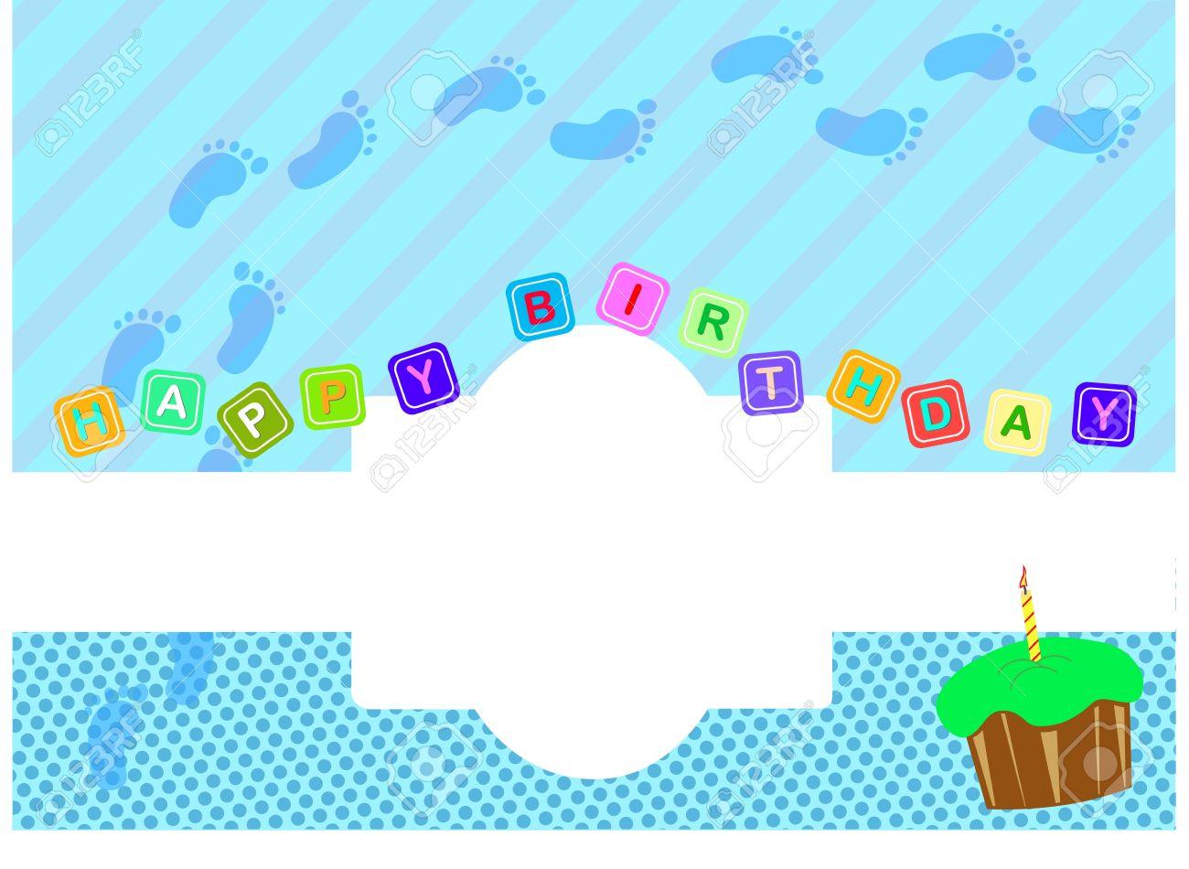 Baby Boy Birthday Greeting Card Stock Vector