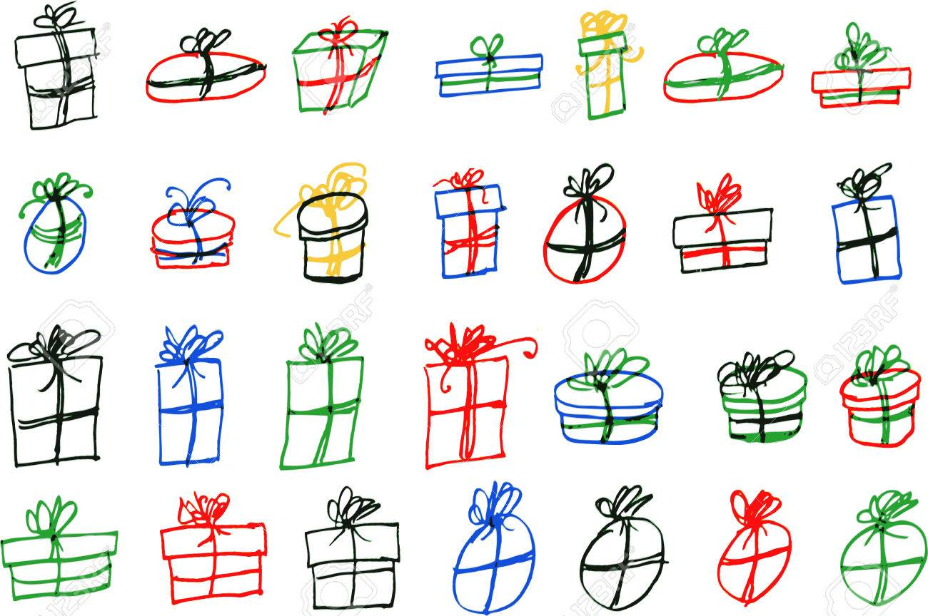 Hand Draw Sketch Set Of Gift Box Royalty Free Cliparts Vectors