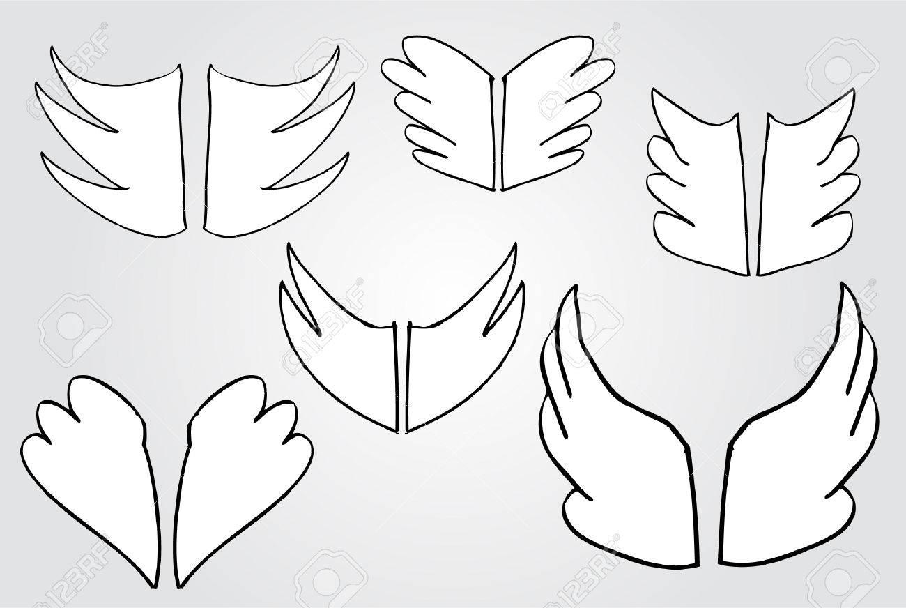 落書き簡単な翼のイラスト素材ベクタ Image 29987158